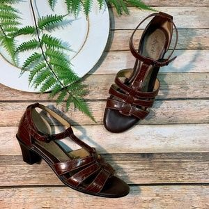 oftspots Brown Strappy Sandals With Heels Size 7.5